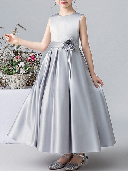 A-Line Round Ankle Length Satin Junior Bridesmaid Dress With Pleats / Appliques_3