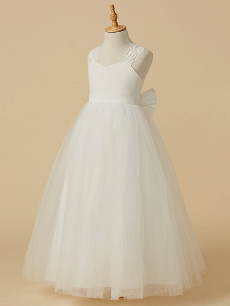 Princess Floor Length Wedding / First Communion Flower Girl Dresses - Lace / Satin / Tulle Sleeveless Halter Neck With Bow(S)_3