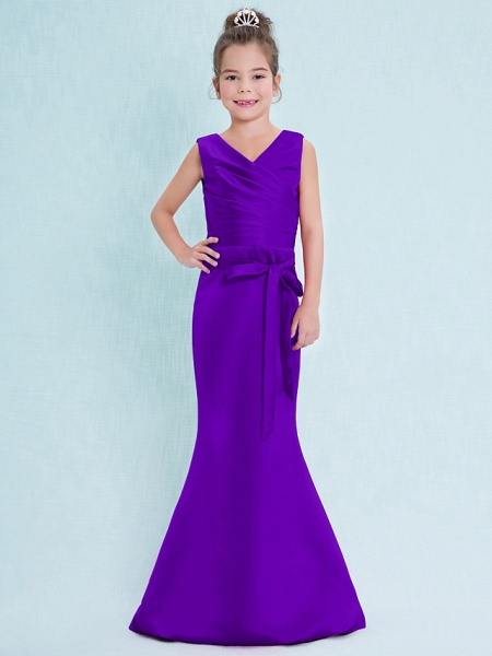 Mermaid / Trumpet V Neck Floor Length Satin Junior Bridesmaid Dress With Criss Cross / Natural_38