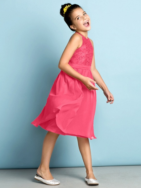 A-Line Jewel Neck Knee Length Chiffon / Lace Junior Bridesmaid Dress With Lace / Natural / Mini Me_24