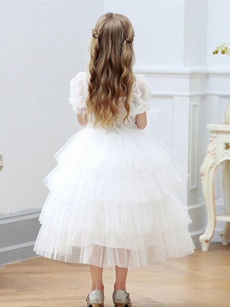 Princess / Ball Gown Tea Length Wedding / Party Flower Girl Dresses - Tulle Short Sleeve Square Neck With Cascading Ruffles_5