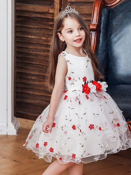 Princess / Ball Gown Knee Length Wedding / Party Flower Girl Dresses - Satin / Tulle Sleeveless Jewel Neck With Bow(S) / Flower_2