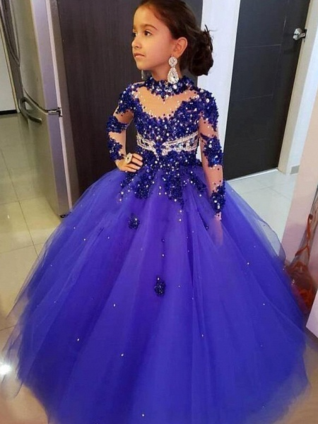 Ball Gown Floor Length Event / Party Flower Girl Dresses - Tulle 3/4 Length Sleeve Illusion Neck With Solid / Crystals / Rhinestones_1