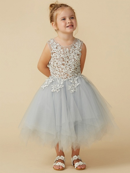 Princess Tea Length Pageant Flower Girl Dresses - Tulle Sleeveless Jewel Neck With Lace / Appliques_6
