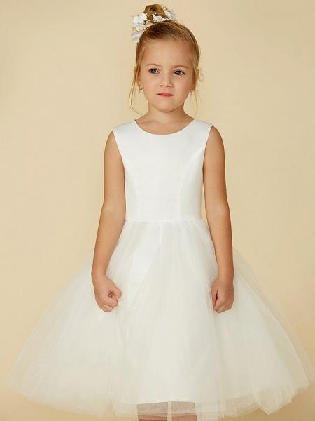 Princess Tea Length Wedding / First Communion Flower Girl Dresses - Satin / Tulle Sleeveless Jewel Neck With Lace_4