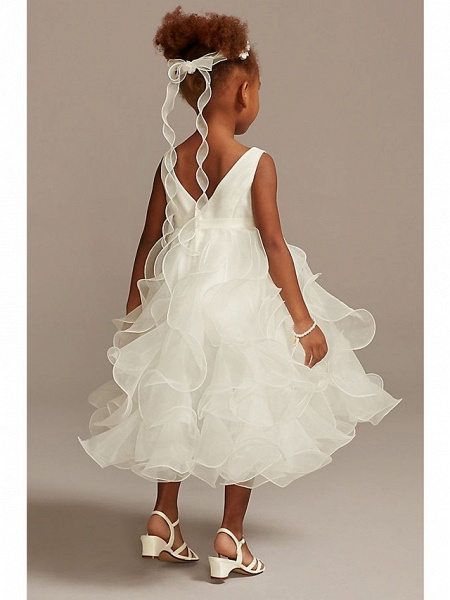 Ball Gown Ankle Length Wedding Flower Girl Dresses - Tulle Sleeveless Jewel Neck With Tier / Solid_2