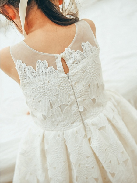 Ball Gown Tea Length Wedding / First Communion / Birthday Flower Girl Dresses - Lace / Tulle Sleeveless Jewel Neck With Lace_4