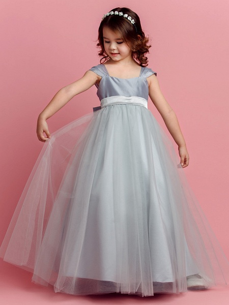 Ball Gown Floor Length Pageant Flower Girl Dresses - Taffeta / Tulle Short Sleeve Square Neck With Sash / Ribbon / Bow(S) / Spring / Summer / Fall_1