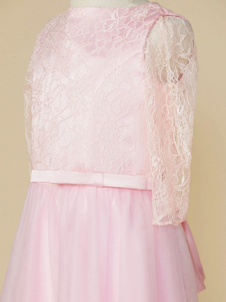 A-Line Jewel Neck Tea Length Lace / Tulle Junior Bridesmaid Dress With Bow(S) / Wedding Party_4