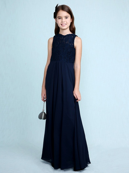 Sheath / Column Scoop Neck Floor Length Chiffon / Lace Junior Bridesmaid Dress With Lace / Natural_2