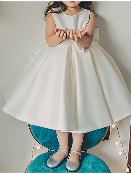 Princess / Ball Gown Tea Length Wedding / Party Flower Girl Dresses - Satin Sleeveless Jewel Neck With Bow(S) / Pleats_4