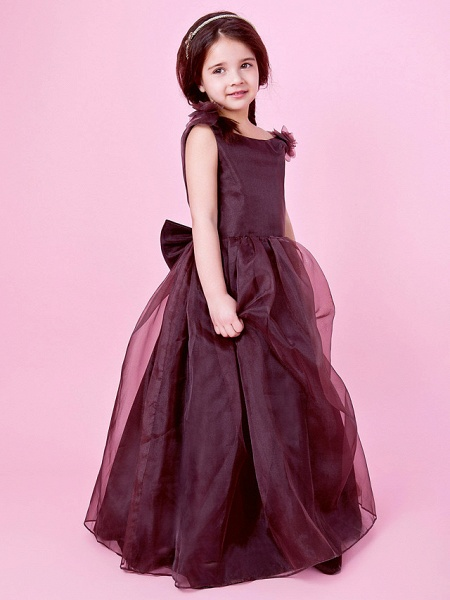 Princess / A-Line Floor Length Wedding Party Organza / Satin Sleeveless Jewel Neck With Bow(S) / Draping / Flower / Spring / Fall / Winter_2