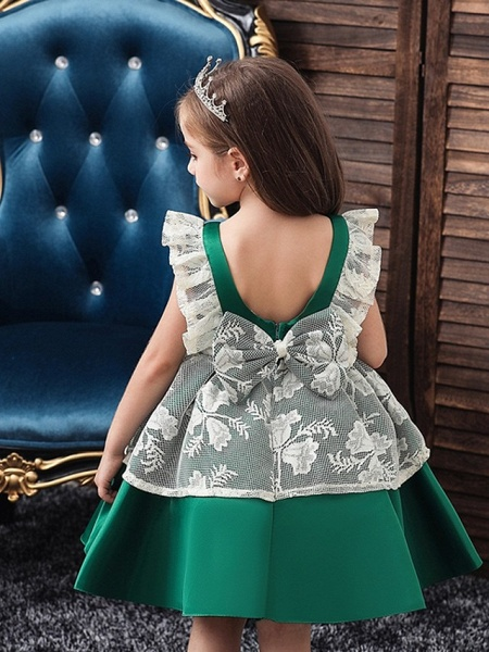 Princess / Ball Gown Knee Length Wedding / Party Flower Girl Dresses - Satin / Tulle Cap Sleeve Jewel Neck With Bow(S) / Color Block_4