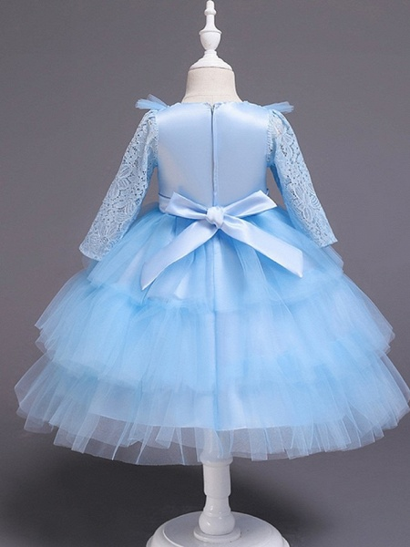 Princess / Ball Gown Knee Length Wedding / Party Flower Girl Dresses - Tulle Long Sleeve Jewel Neck With Bow(S) / Beading / Embroidery_7