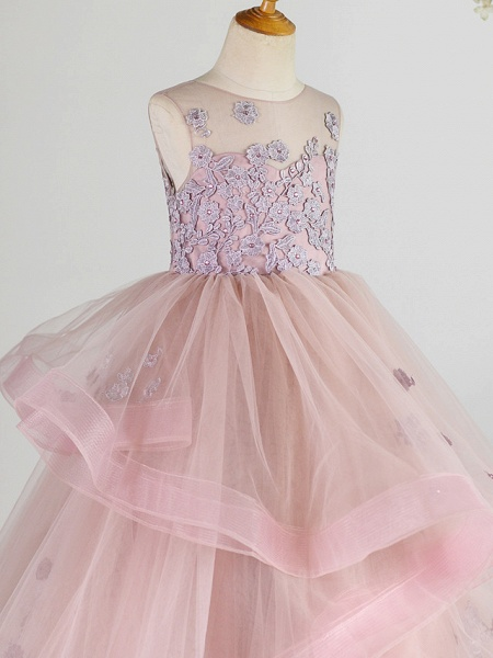 Princess Floor Length Wedding / Birthday / Pageant Flower Girl Dresses - Lace / Tulle Sleeveless Jewel Neck With Beading / Appliques_3