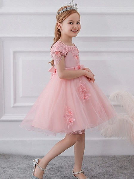 Princess / Ball Gown Knee Length Wedding / Party Flower Girl Dresses - Satin / Tulle Short Sleeve Off Shoulder With Sash / Ribbon / Bow(S) / Appliques_4