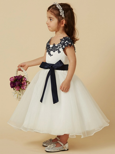 A-Line Knee Length Pageant Flower Girl Dresses - Lace / Tulle Short Sleeve Scoop Neck With Sash / Ribbon / Bow(S) / Buttons_3