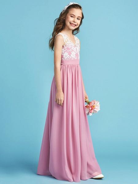 Princess / A-Line Queen Anne Floor Length Chiffon / Lace Junior Bridesmaid Dress With Lace / Sash / Ribbon / Pleats_3