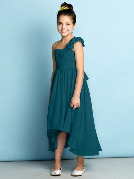 A-Line One Shoulder Asymmetrical Chiffon Junior Bridesmaid Dress With Criss Cross / Flower / Natural / Mini Me_38