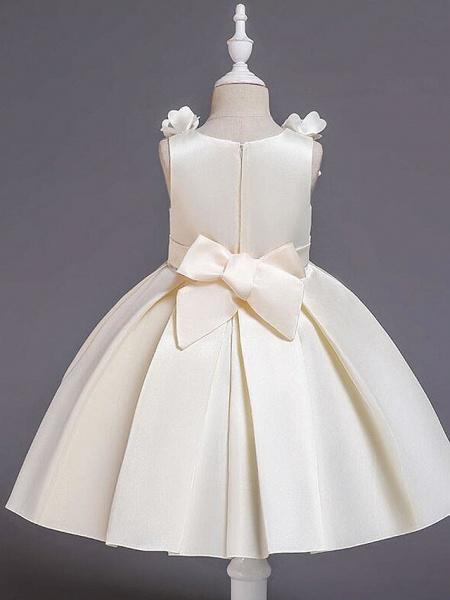 Princess Knee Length Wedding / Party / Pageant Flower Girl Dresses - Satin / Cotton Sleeveless Jewel Neck With Petal / Belt / Bow(S)_8
