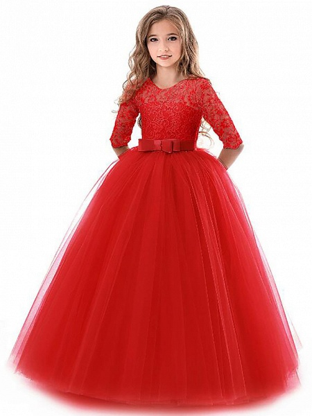Princess Long Length Wedding / Party / Pageant Flower Girl Dresses - Lace / Tulle Half Sleeve Jewel Neck With Lace / Belt / Bow(S)_4