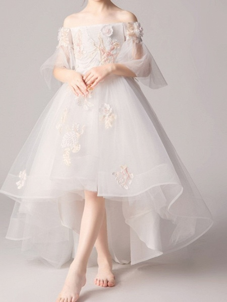 A-Line Asymmetrical Pageant Flower Girl Dresses - Polyester Half Sleeve Off Shoulder With Appliques_2