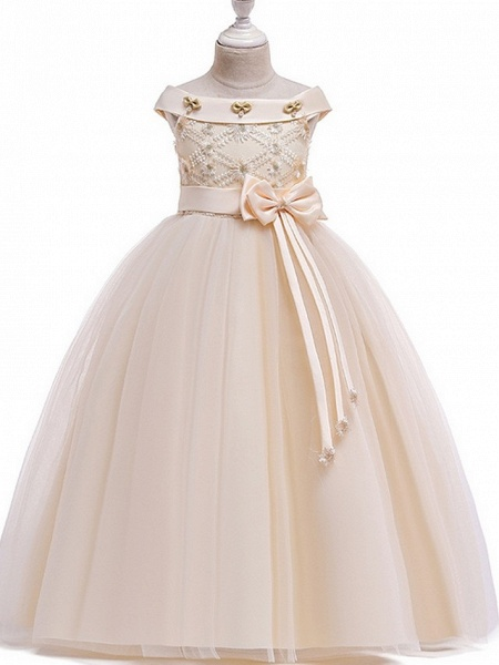 Princess Bateau Floor Length Cotton Junior Bridesmaid Dress With Bow(S) / Pearls / Appliques_1