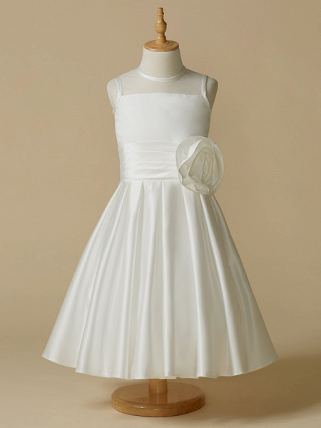 A-Line Tea Length Wedding / First Communion Flower Girl Dresses - Taffeta Sleeveless Jewel Neck With Flower_1