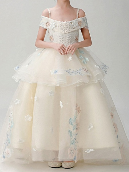 Ball Gown Sweep / Brush Train Pageant Flower Girl Dresses - Polyester Short Sleeve Spaghetti Strap With Appliques_1