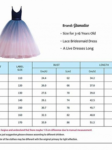 Girls Lace Bridesmaid Dress Long A Line Wedding Pageant Dresses Flower Girls Princess Ombre Tulle Party Gown Age 3-16Y &Amp; # 40; 3T - 4T, V-Navy Blue&Amp; Blush Pink&Amp;;_4