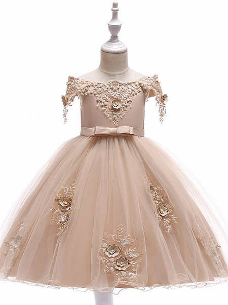 Princess Above Knee Wedding / Party / Pageant Flower Girl Dresses - Satin / Tulle Short Sleeve Off Shoulder With Lace / Beading / Appliques_1