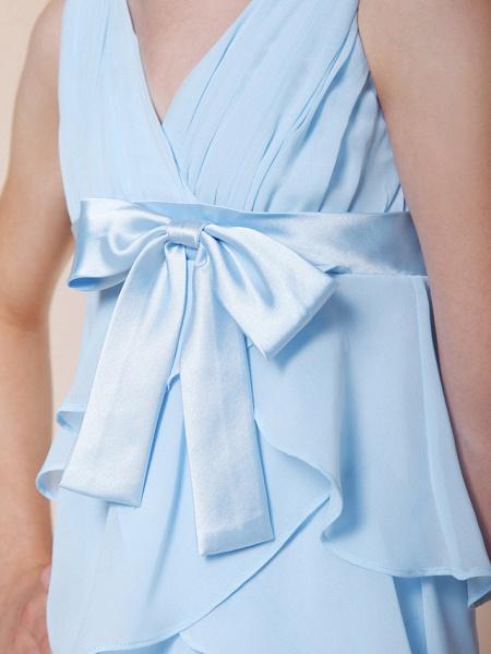A-Line V Neck Floor Length Chiffon / Stretch Satin Junior Bridesmaid Dress With Bow(S) / Empire / Spring / Summer / Fall / Winter_5