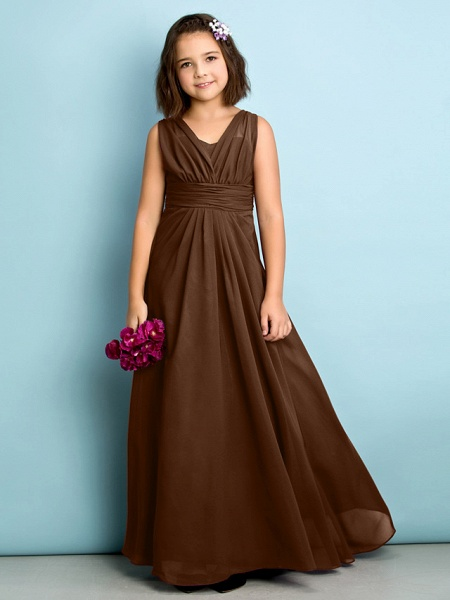 A-Line V Neck Floor Length Chiffon Junior Bridesmaid Dress With Criss Cross / Natural / Mini Me_22