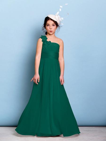 A-Line One Shoulder Floor Length Chiffon Junior Bridesmaid Dress With Sash / Ribbon / Criss Cross / Ruched / Natural_25