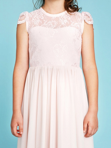 Princess / A-Line Crew Neck Floor Length Chiffon / Lace Junior Bridesmaid Dress With Buttons / Pleats / Wedding Party / See Through_8