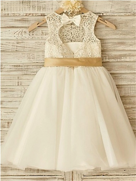 A-Line Jewel Neck Knee Length Lace / Tulle Junior Bridesmaid Dress With Lace / Sash / Ribbon / Bow(S) / First Communion_3