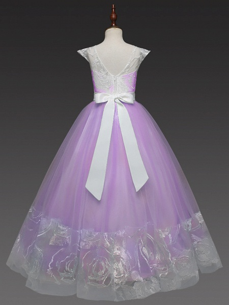 Princess Long Length Wedding / Party / First Communion Flower Girl Dresses - Lace / Tulle Cap Sleeve Jewel Neck With Belt / Crystals / Crystals / Rhinestones_10