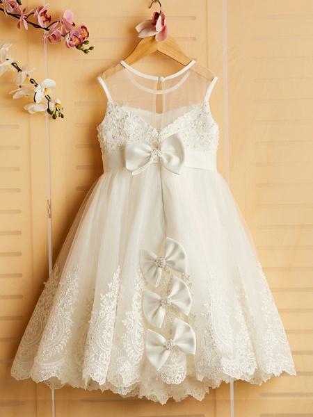 Princess Tea Length Wedding / Birthday / Pageant Flower Girl Dresses - Satin / Tulle Sleeveless Jewel Neck With Bows / Belt / Beading_2