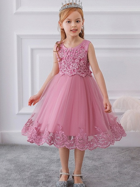 Ball Gown Knee Length Wedding / Party Flower Girl Dresses - Tulle Sleeveless Jewel Neck With Bow(S) / Appliques_6