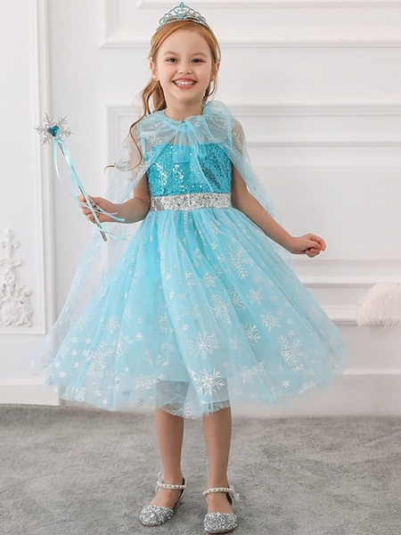Princess / Ball Gown Tea Length Wedding / Party Flower Girl Dresses - Tulle Sleeveless Jewel Neck With Bow(S) / Paillette_1