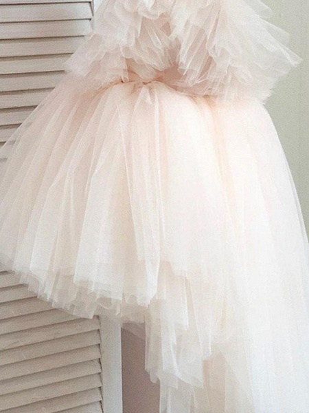 Princess / Ball Gown Knee Length Wedding / Party Flower Girl Dresses - Tulle Short Sleeve / Sleeveless V Neck With Tier / Appliques_5