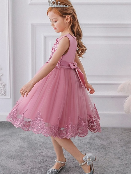 Ball Gown Knee Length Wedding / Party Flower Girl Dresses - Tulle Sleeveless Jewel Neck With Bow(S) / Appliques_5