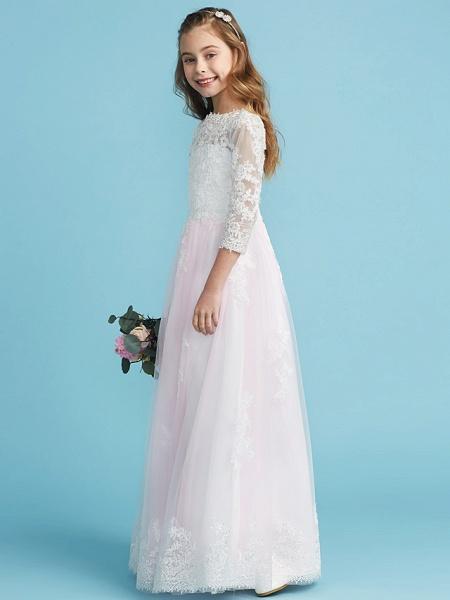 Princess / A-Line Crew Neck Floor Length Lace Junior Bridesmaid Dress With Lace_3