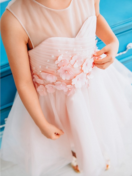 Ball Gown Knee Length Wedding / Birthday / Pageant Flower Girl Dresses - Tulle Sleeveless Jewel Neck With Petal / Pearls_3