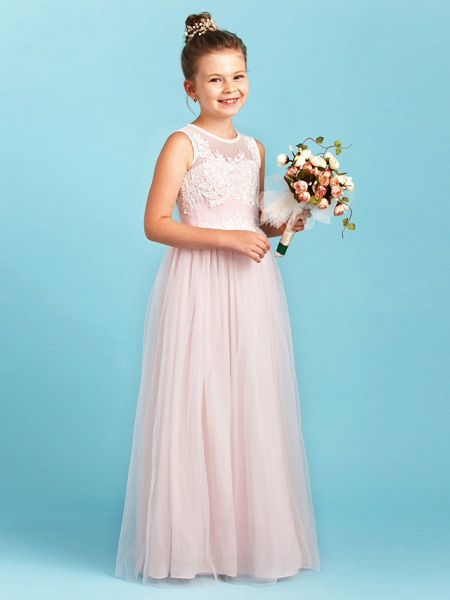 Princess / A-Line Jewel Neck Floor Length Tulle Junior Bridesmaid Dress With Pleats / Appliques / Wedding Party / See Through_3