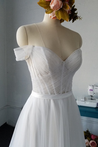 SD1958 Off The Shoulder Tulle Sweetheart Wedding Dress_4