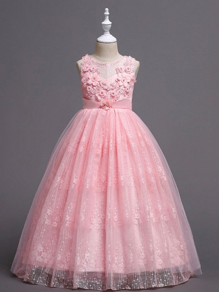 Princess / Ball Gown Floor Length Wedding / Party Flower Girl Dresses - Tulle Sleeveless Jewel Neck With Bow(S) / Flower_6