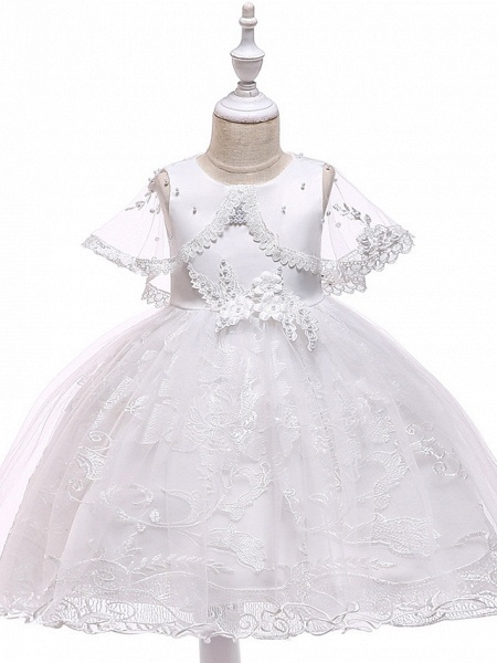 Princess Medium Length Wedding / First Communion Flower Girl Dresses - Lace / Tulle / Mikado Sleeveless Jewel Neck With Pearls / Appliques / Bandage_1