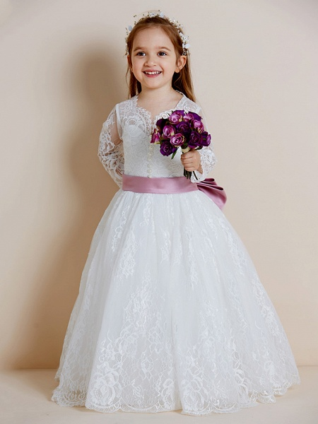 Ball Gown Floor Length Wedding / First Communion Flower Girl Dresses - Lace / Tulle Long Sleeve V Neck With Lace / Sash / Ribbon / Bow(S)_7