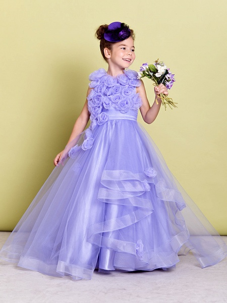 A-Line Sweep / Brush Train Pageant Flower Girl Dresses - Organza Sleeveless Jewel Neck With Ruched / Flower_1